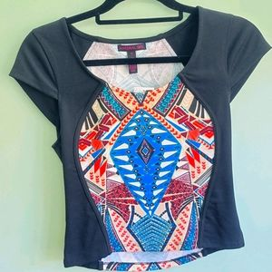 NWT MATERIAL GIRL Egyptian print crop top size M